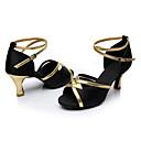 hesapli Latin Dans Ayakkabıları-Kadın's Latin Dans Ayakkabıları / Salsa Ayakkabıları / Samba Ayakkabıları Saten Sandaletler Toka Kişiye Özel Kişiselleştirilmiş Dans