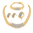 cheap Jewelry Sets-Women's Jewelry Set - Rhinestone Include Golden For Wedding / Party / Daily / Rings / Earrings / Necklace / Bracelets & Bangles