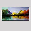 זול אומנות ממוסגרת-ציור שמן צבוע-Hang מצויר ביד - מופשט / L ו-scape מודרני כלול מסגרת פנימית / בד מתוח