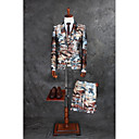 cheap Suits-Coffee Pattern Tailored Fit Polyester Suit - Notch Single Breasted One-button
