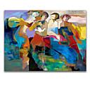 cheap People Paintings-Oil Painting Hand Painted - Abstract Modern With Stretched Frame / Stretched Canvas