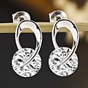 billige Mode Øreringe-Dame Kvadratisk Zirconium Solitaire Dråbeøreringe - Mode Sølv Til Daglig