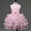 tanie Sukienki dla dziewczynek-Dzieci Dla dziewczynek Słodkie Solidne kolory Koronka / Łuk / Warstwy materiały Bez rękawów Sukienka
