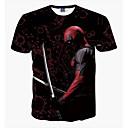 halpa Halloween-juhlatarvikkeet-Miesten Pyöreä kaula-aukko Ohut Painettu Muotokuva Perus T-paita,