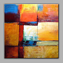 cheap Oil Paintings-Oil Painting Hand Painted - Abstract Modern With Stretched Frame / Stretched Canvas