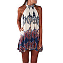 cheap Synthetic Wigs-Women's Beach Boho Cotton A Line Dress - Geometric Print Mini Halter Neck / Summer / Loose