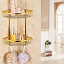 cheap Bathroom Shelves-Gold Finish Bathroom Double-deck Brass Material Triangular Storage Basket