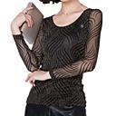 Χαμηλού Κόστους Γυναικεία Ρολόγια-Γυναικεία Μεγάλα Μεγέθη T-shirt Ριγέ Δίχτυ / Εφαρμοστό / Άνοιξη