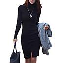 hesapli Sentetik Kapsız Peruklar-Kadın's Sokak Şıklığı Pamuklu Kılıf Elbise - Solid, Bölünmüş Boğazlı Asimetrik Siyah