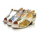 baratos Sapatos de Dança Latina-Mulheres Sapatos de Dança Latina Flocagem / Sintético / Cetim Sandália Salto Baixo Não Personalizável Sapatos de Dança Prateado / Dourado