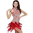 זול הלבשה לריקודים לטיניים-ריקוד לטיני שמלות בגדי ריקוד נשים הצגה פוליאסטר / נצנצים פרנזים שמלה / סמבה