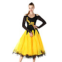 cheap Ballroom Dance Wear-Ballroom Dance Dresses Women's Performance Chinlon / Crepe Embroidery / Crystals / Rhinestones Long Sleeve Dress / Modern Dance