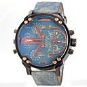 cheap Military Watches-JUBAOLI Men's Quartz Wrist Watch Military Watch Dual Time Zones Leather Band Charm Black Blue Grey Yellow