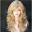 billige Syntetiske parykker uten hette-Syntetiske parykker Krøllet Blond Syntetisk hår Blond Parykk Dame Lang Lokkløs Blond
