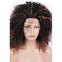 halpa Keittiövälineet-Synteettiset pitsireunan peruukit Kinky Curly Synteettiset hiukset Raidoitetut hiukset / Luonnollinen hiusviiva Musta Peruukki Naisten Keskikokoinen Lace Front