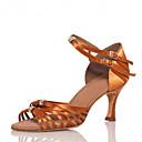 abordables Zapatos de Baile Latino-Mujer Zapatos de Baile Latino Satén Sandalia / Tacones Alto Pedrería / Hebilla Tacón Personalizado Personalizables Zapatos de baile Marrón / Interior / Rendimiento / Entrenamiento / Profesional