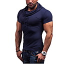cheap Running Shirts, Pants & Shorts-Men's Sports Active Cotton Slim T-shirt - Solid Colored Hooded / Short Sleeve