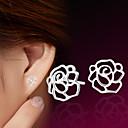 halpa Muotikorvakorut-Naisten Niittikorvakorut - Sterling-hopea, Hopeanvärinen Flower Käyttötarkoitus Häät / Party / Päivittäin