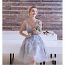 billige Smykke Sett-A-linje V-hals Knelang Blonder / Tyll Cocktailfest / Skoleball Kjole med Appliqué / Blonder av LAN TING Express