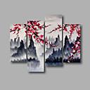 זול הד פיס למסיבות-ציור שמן צבוע-Hang מצויר ביד - L ו-scape מודרני בַּד / בד מתוח
