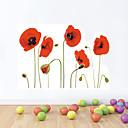זול מדבקות קיר-מדבקות קיר מדבקות קיר, סגנון אדום אדמונית פרחים pvc מדבקות קיר 1pc
