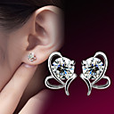 cheap Earrings-Women's Cubic Zirconia Stud Earrings - Sterling Silver, Zircon, Silver Heart Birthstones For Wedding / Party / Daily