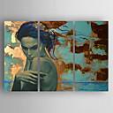 billige Oliemalerier-Hang-Painted Oliemaleri Hånd malede - Mennesker Moderne / Europæisk Stil Omfatter indre ramme / Tre Paneler / Stretched Canvas
