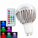 cheap LED Bi-pin Lights-400 lm GU10 LED Globe Bulbs A60(A19) 3 leds High Power LED Dimmable Decorative Remote-Controlled RGB AC 100-240V