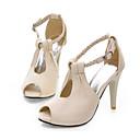 baratos Sandálias Femininas-Mulheres Sapatos Courino Primavera / Verão Salto Agulha Branco / Preto / Bege / Festas & Noite / Festas & Noite