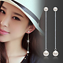 cheap Earrings-Women's Pearl Tassel / Long Drop Earrings - Pearl, Sterling Silver, Silver Fashion, Birthstones Silver For Wedding / Party / Daily