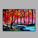 olcso Bekeretezett műalkotások-Hang festett olajfestmény Kézzel festett - Landscape Modern Vászon / Nyújtott vászon