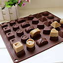 cheap Bakeware-30 Cavity Silicone Heart Round Chocolate Mold Ice Cube Tray Mould