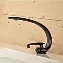 hesapli Banyo Lavabosu Muslukları-Çağdaş Tek Gövdeli Şelale Seramik Vana Tek Kolu Bir Delik Yağlı Bronz, Banyo Lavabo Bataryası