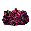 cheap Clutches & Evening Bags-Women Bags Polyester Chiffon Evening Bag Ruffles Flower for Wedding Event/Party Casual Formal Office & Career All Seasons Gray Purple Red