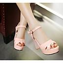 halpa Naisten sandaalit-Naisten Kengät Tekonahka Kevät / Kesä Paksu korko Soljilla Musta / Beesi / Pinkki