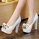 cheap Women's Heels-Women's Shoes Microfiber Spring / Summer Chunky Heel / Platform Bowknot White / Black / Red / Dress