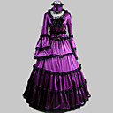 cheap Historical & Vintage Costumes-Rococo Victorian Ruffle Dress Costume Women's Dress Party Costume Masquerade Purple Vintage Cosplay Satin Long Sleeve Poet Sleeve Floor Length Long Length Halloween Costumes