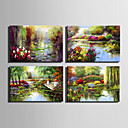 cheap Floral/Botanical Paintings-Oil Painting Hand Painted - Landscape European Style Canvas