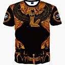 billige Sportsklokke-Bomull Tynn T-skjorte Herre Trykt mønster Vintage / Bohem Sport / Kortermet