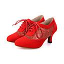 זול נעליים מודרניות-בגדי ריקוד נשים נעליים מודרניות עדרים / נצנצים עקבים / נעלי ספורט פאייטים / שרוכים עקב רחב מותאם אישית נעלי ריקוד שחור / אדום / פוקסיה / הצגה / עור