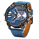 abordables Relojes Militares-Hombre Reloj de Pulsera Cuarzo Cuarzo Japonés Dos Husos Horarios Piel Banda Analógico Encanto Azul - Azul / Acero Inoxidable
