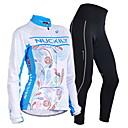 preiswerte Radtrikot und Shorts / Hosen Sets-Nuckily Herrn Damen Langarm Fahrradtrikots mit Fahrradhosen - Blau Blumen / Pflanzen Geometrisch Fahhrad Kleidungs-Sets, warm halten,