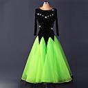 baratos Roupas de Dança de Salão-Dança de Salão Vestidos Mulheres Espetáculo Elastano Pregueado Vestido / Dança Moderna