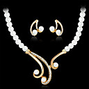 cheap Jewelry Sets-Women's Pearl Jewelry Set - Pearl, Imitation Pearl, Rhinestone Luxury Include Necklace / Earrings White For Wedding / Party / Gold Plated / Imitation Diamond