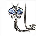 baratos Chaveiros-Mulheres Cristal Colares com Pendentes - Cristal, Resina, Strass Vintage, Europeu, Fashion Azul Colar Jóias Para Casamento, Festa, Diário