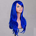 cheap Synthetic Capless Wigs-Synthetic Wig Curly / Natural Wave Asymmetrical Haircut Synthetic Hair Natural Hairline Blue Wig Women's Medium Length / Long Capless