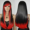 billige Syntetiske parykker uten hette-Syntetiske parykker Rett / Kinky Glatt Asymmetrisk frisyre Syntetisk hår Naturlig hårlinje Rød / Svart Parykk Dame Lang Lokkløs Regnbue
