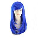 billige Kostymeparykk-Syntetiske parykker Dame Rett Blå Asymmetrisk frisyre Syntetisk hår Naturlig hårlinje Blå Parykk Medium Lengde / Mellemlængde Lokkløs Blå