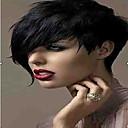 billige Syntetiske parykker uten hette-Syntetiske parykker Rett / Krøllet Syntetisk hår 6 tommers Svart Parykk Dame Kort Lokkløs Svart