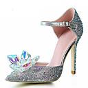hesapli Kadın Düğün Ayakkabıları-Kadın's Ayakkabı Sentetik / Parıltılı Bahar / Yaz Stiletto Topuk Düğün / Elbise / Parti ve Gece için Kristal / Payet / Işıltılı Pullar